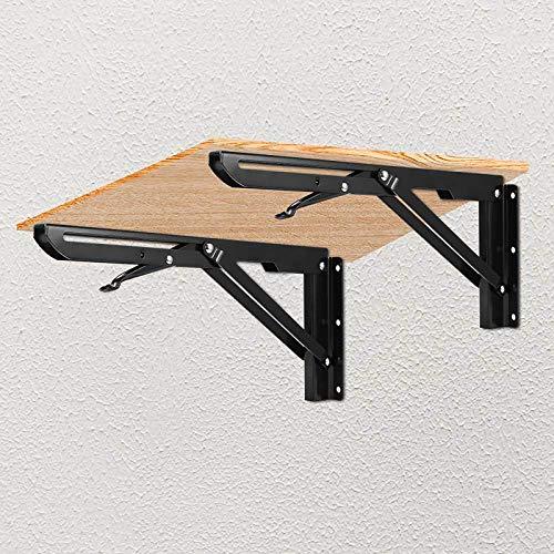 Tendlife Soportes de estante plegables 2 PCS, Soporte de estante plegable de servicio pesado, Soportes triangulares de bricolaje para mesa de banco, Bisagra de estantería ahorro espacio - 12Inch 136KG