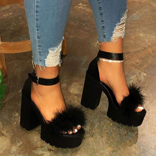 QINYUP Sommer Neue große Größe 43 Explosion Modelle Thick Heel-Absatz-Schuhe der Frauen Buckle High Heel Damen Sandalen Frauen,A,40