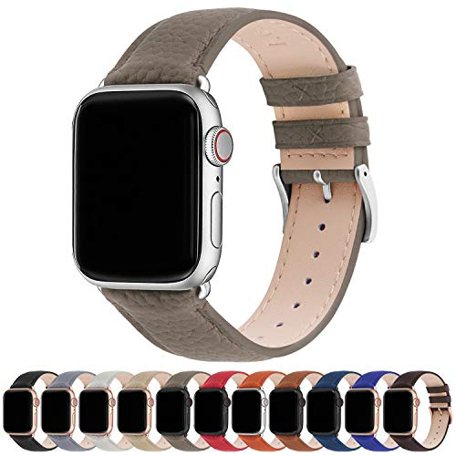 Fullmosa Kompatibel Apple Watch Armband 38mm 42mm 40mm 44mm, Lederarmband, iWatch Ersatzarmband für iWatch Serie SE/6/5/4/3/2/1, Elefantengrau + Silberne Schnalle 38mm/40mm