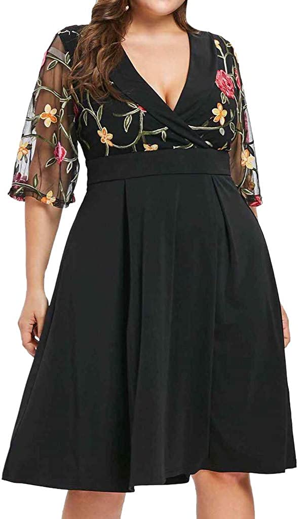 Womens Plus Size V Neck Boho Dresses Comfort Beach Skirt Loose Party Dress Floral Summer Dress Half Sleeve