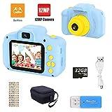 yunlone fotocamera bambini,12mp selfie fotocamera digitale per bambini fhd 1080p videocamera regali per ragazze ragazzi da 3-8 anni, 8x zoom/scheda 32 gb/custodia inclusa - blu