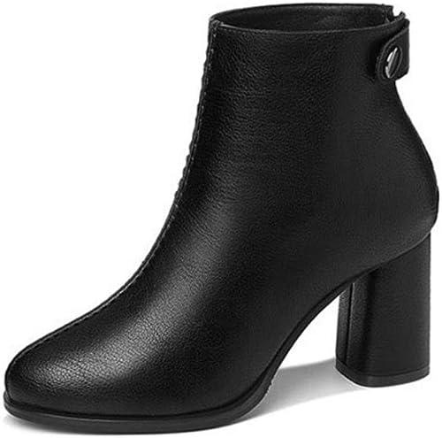 DANDANJIE Stiefel für Frauen Damen Chunky Heel Zipper Ankle Stiefel Mode britischen Stil Stiefelies für 2018 Herbst Winter