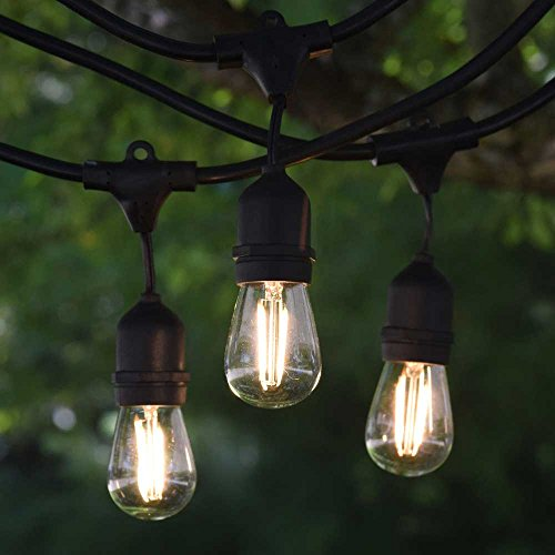 BRIMAX Outdoor String Lights,49ft Wateroroof Garden String Festoon Lights,16 LED Warm White 2700K S14 2W Bulbs,E27 Sockets Garden String Lights for Patio Backyard Cafe Wedding Party Festival