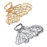Large Metal Hair Claw Clips, Butterfly Lady Thick Hair Barrette, Non-slip Hollow Hair Jaw Clamp Clips, Hairpins Thick Hair Accessories for Women Lady Girls (Gold , Silver))