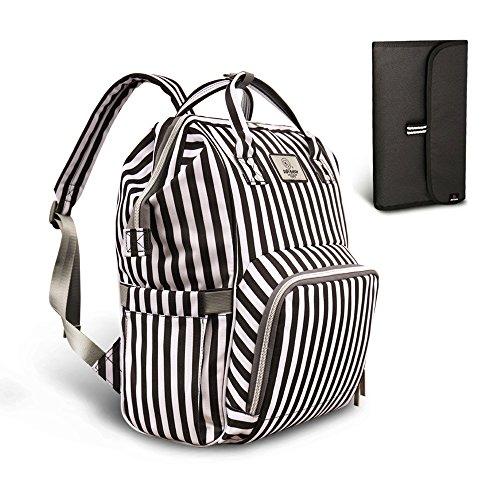 Pipibear Mutifunktionale Wickeltasche Rucksack, Wasserdichte Wickelrucksack Tasche, Große Reisetasche für Mutter und Baby (Schwarz-Weiß-Streifen)