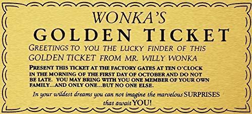 LynnYo22 Willy Wonka gouden ticket gouden teken muur kunst Charlie chocolade fabriek metalen bord 12x16