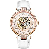 BUREI Automatic Women Watch Fashionable Skeleton Mechanical Watch Sapphire Glass Rhinestone Markers and Soft Leather Strap