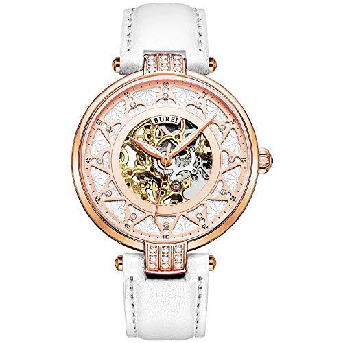 BUREI - Orologio da polso per donna, meccanismo a vista rosa, quadrante in oro, lente con zaffiro, automatico, con cinturino in pelle, colore: bianco