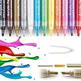 Acrylfarbe Marker Stifte, Acrylstifte Marker, Acrylfarben, Wasserfest, Permanent, Zweiseitige Stiftspitze, Inkl. Pinzette 12 Farben Set, Ideal für Stoff, Stein, Holz, Papier UVM, Geschenk...