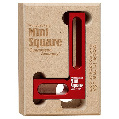 Woodpeckers Mini Square, Small Pocket Wood Working Tool, Check Square on Carpenter Cutting Tools, Premium Precision Woodworking Tools, Red, Aluminum
