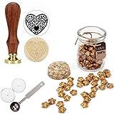 Set de sello para lacrar Mogoko, 1 sello de cera vintage para felicitación y 120 perlas en forma de estrella para cera con 1cuchara de fusión de cera y 2 velas Heart