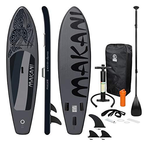 ECD Germany Tabla Hinchable Makani Paddle Surf/Sup 320 x 82 x 15 cm Negro Stand up Paddle Board PVC/EVA hasta 150kg 3 Antideslizantes Diferentes Modelos Incluye Paleta Aluminio Bomba y Accesorios