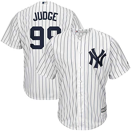 Aaron Judge #99 New York Yankees MLB Majestic Youth White Pinstripe Replica Jersey (Youth Small 8)