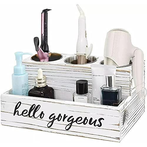Haar-Werkzeug-Organizer, Haartrockner-Pflege, Glätteisen, Lockenstab, Bürstenhalter, Caddy Aufbewahrung für Waschtisch & Badezimmer, Wandmontage oder auf Theke sitzen