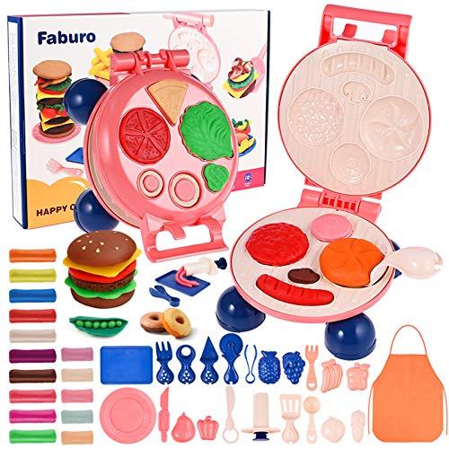 fabu Juguete de Barro de Color de Los Niños (15 Colores), Juguete de la Máquina de Hamburguesa de Juguete Arcilla y Masa de...