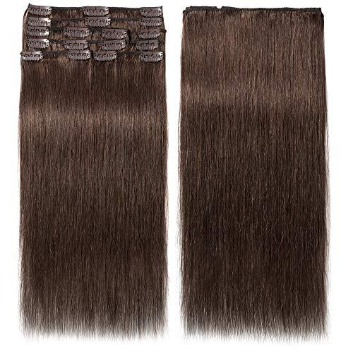 Clip In Extensions Echthaar 100% Remy DOUBLE DRAWN Haarverlängerung 8 Tressen Dick zum Ende Glatt 35cm - 80g - Mittelbraun #04