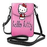 Cartoon Anime Cute Hello Cat Ropa roja ligera pequeña Crossbody Bolsas de cuero para teléfono celular monederos bolsa de viaje bolsa de hombro cartera con ranuras para tarjetas de crédito para mujeres
