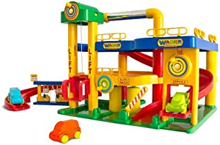 Wader Garage No.1 For Children, 3-Level Garage & 3 Toy Cars, built in The Box, Ready To Play