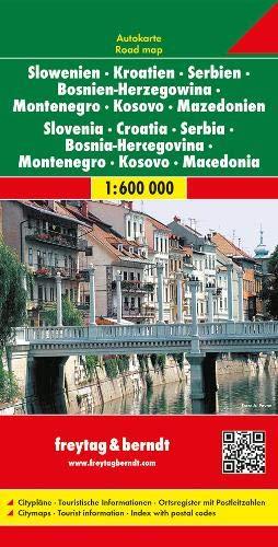 F&B Slovenië, Kroatië, Servië, Bosnië-Herzegovina, Montenegro, Kosovo, Macedonië: Wegenkaart 1:600 000