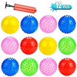 Amersumer 12 Pcs 7 Inch Sensory Balls, Fun Bouncy Knobby Balls Bulk, Spiky Massage Stress Balls, Fun Bouncy Balls Party Favor Packs for Indoor, Outdoor, Gifts, Stocking Stuffers, Assorted Colors