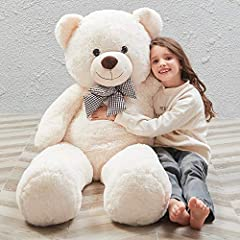 Size:giant teddy bear 47 inches tall, giant soft bear make a comfortable touching and soft snuggling |Color:White(as the picture shows) Material:Makes of soft plush cover and stuffed with high quailty fluffy PP cotton, cute big teddy bear perfect for...