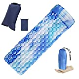 Syfinee Camping Sleeping Pad Mat with Pillow Fast Filling Portable Camping Pad for Outdoor Camping, Backpacking, Hiking, Airpad, Inflating Bag, Carry Bag, Compact Lightweight Air Mattress