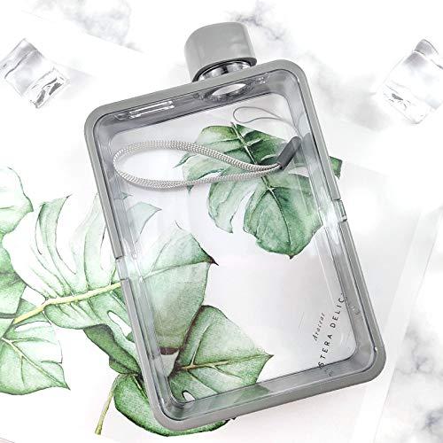 XKMY Botella de agua de vidrio plano para hombre de papel con personalidad femenina, botella deportiva creativa cuadrada simple y portátil (color gris)