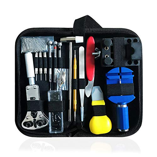 BEYAOBN 151PCS Kit de Reparación de Relojes,Herramientas de Reparación Profesional para Barra de Resorte, Kit de Herramientas de Reemplazo de la Batería del Relojo, Varios Accesorios,etc.