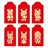 Totkakka 6Pcs / Set Cute Cartoon Ganado sobre Rojo de Año Nuevo Los Mejores Deseos Lucky Money