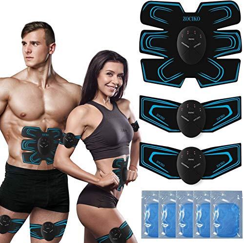 zociko Bauchmuskeltrainer EMS Trainingsgerät Muskelstimulation für Bauch Arme Taille Beine Hüften, EMS Muskelstimulator mit 10PC Gel Pad Hilfe beim Abnehmen, Muskelaufbau und Figurformung