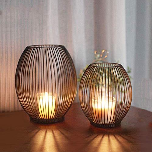 Oval Kerzenständer 2er Set,Kerzenständer Stabkerzen,Stabkerze Metall Deko Kerzenleuchter,Wohnzimmer Tische Kandelaber,Kreativ Vintage Kerzen Ständer,Deko Metall schwarz