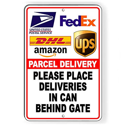Yohoba Parcel Deliveries In Can Behind Gate Metal Sign Or Decal Delivery I306