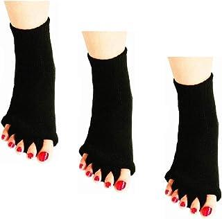 ReachTop, Calcetines separadores de dedos, 3 pares de calcetines de alineación de pies, yoga, gimnasio, masaje, calcetines sin dedos, alivio del dolor, mejora la circulación, calcetines elásticos para pies felices, para mujeres y hombres