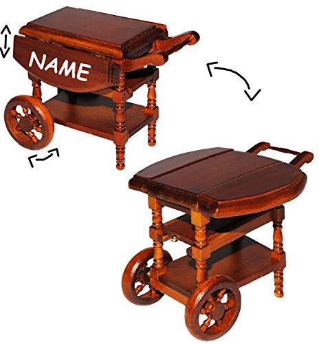 Unbekannt Servierwagen / Teewagen - klappbar - aus Holz - incl. Name - für Puppenstube Miniatur / Maßstab 1:12 - Eßzimmer - Esstisch Küchenwagen Side-Car mit Rollen - d..