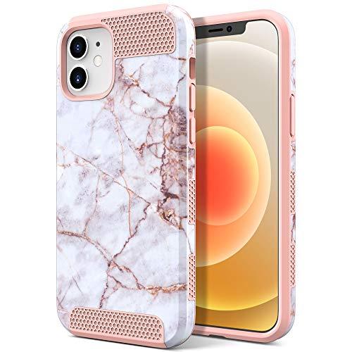 ULAK iPhone 12 Mini Hülle, Bunt Hybrid Handyhülle 2 in 1 Stoßfest Schutzhülle Tasche Hart PC + Weiche Silikon Hülle Cover für Apple iPhone 12 Mini 5,4 Zoll 2020 - Rosa Marmor