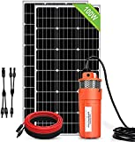 DCHOUSE Kit de bomba sumergible solar de 200 W para pozos profundos, bomba de agua solar de flujo de 1,6 GPM + 2 paneles solares de 100 W