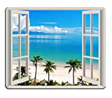 island mouse pad - Pingpi Mouse Pad Palm Trees Tropical Island Beach Nature Paradise Panoramic Picture Through Wooden Windows Scene Custom Design, 9.5 X 7.9 Inch (240mmX200mmX3mm)
