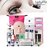 LuckyFine 19pcs Eyelashes Extension Practice Exercise Set, Professional Head Model Lip Makeup Eyelash Grafting Training Tool Beginner Kit for Makeup Practice Eye Lashes Graft