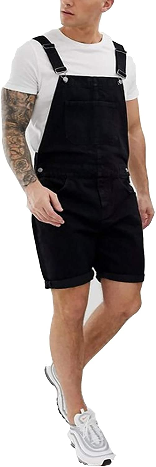 Men's Bib Overall Shorts Jeans Retro Denim Casual Overalls Jumpersuit Trousers Multiple Pockets
