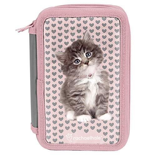 XXL Federmappe Federtasche Kinder Federmappe 3-fach 19 x 11 x 4 cm dreistöckig Katze Federmäppchen rosa Mädchen