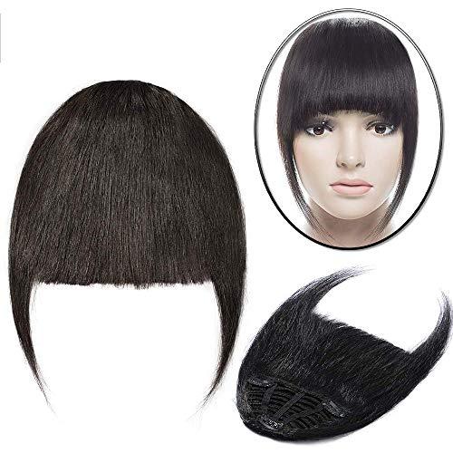 Elailite Frangia Clip Capelli Veri Extension Frangetta Fascia Unica Hair Bang Voluminoso 100% Remy Human Hair Lisci Umani 25g #1B Nero Naturale