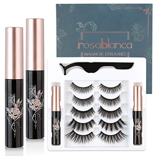 Rosablanca 5-Pair Magnetic Eyelashes and 2 Tubes of Magnetic Eyeliner Kit, Soft and Reusable 3D Magnetic Eyelashes with Free Tweezers, No Glue Needed