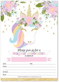 Hadley Designs 25 Pastel Unicorn Kid Party Invitation, Birthday Royal Princess Queen Crown Girl Bday Invite, Magical Rose Pink Gold Floral Glitter Rainbow Bday Idea, Magic Fairytale Printable Template