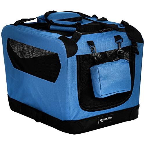 AmazonBasics - Trasportino morbido pieghevole per animali domestici, alta qualità, 53 cm, Blu