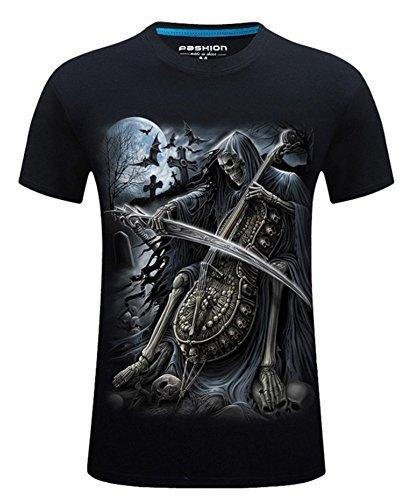 Angcoco Men's Short Sleeve 3D Digital Print T Shirts - Grim Reaper