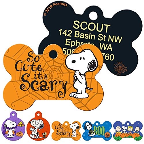 GoTags Halloween Snoopy and Charlie Brown Pet ID Tags for Dogs and Cats, Personalized Engraved Dog ID Tags with up to 4 Lines of Custom Text