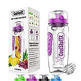 CoolStuffX 3-in-1 Fruit Infuser + Sportwasserflasche + Protein Shaker. langem Infuser + 1 Liter + Motivation Zeitmarkierung, BPA-frei, Auslaufsicher,Anti-Kondensationshülse, kostenlose Ebook Rezepte