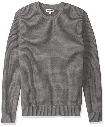 Amazon Brand - Goodthreads Men's Soft Cotton Rib Stitch Crewneck Sweater, Heather Grey, Small