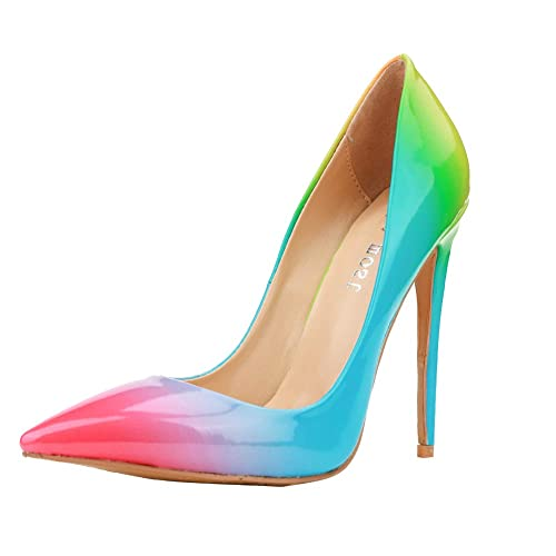 Themost Fashion Womens Rainbow Print Pointy Closed Toe Slip on Pencil High Heel Shoes Pumps