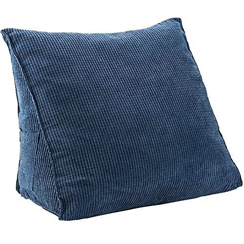 Triangle Pillow Corduroy Triangle Wedge Pillow Reading & Bed Rest Pillows Cushion Headboard Pillow Bed Backrest Pillow Back Support Triangle Pillow for Office Home Bed Sofa Chair (Blue)